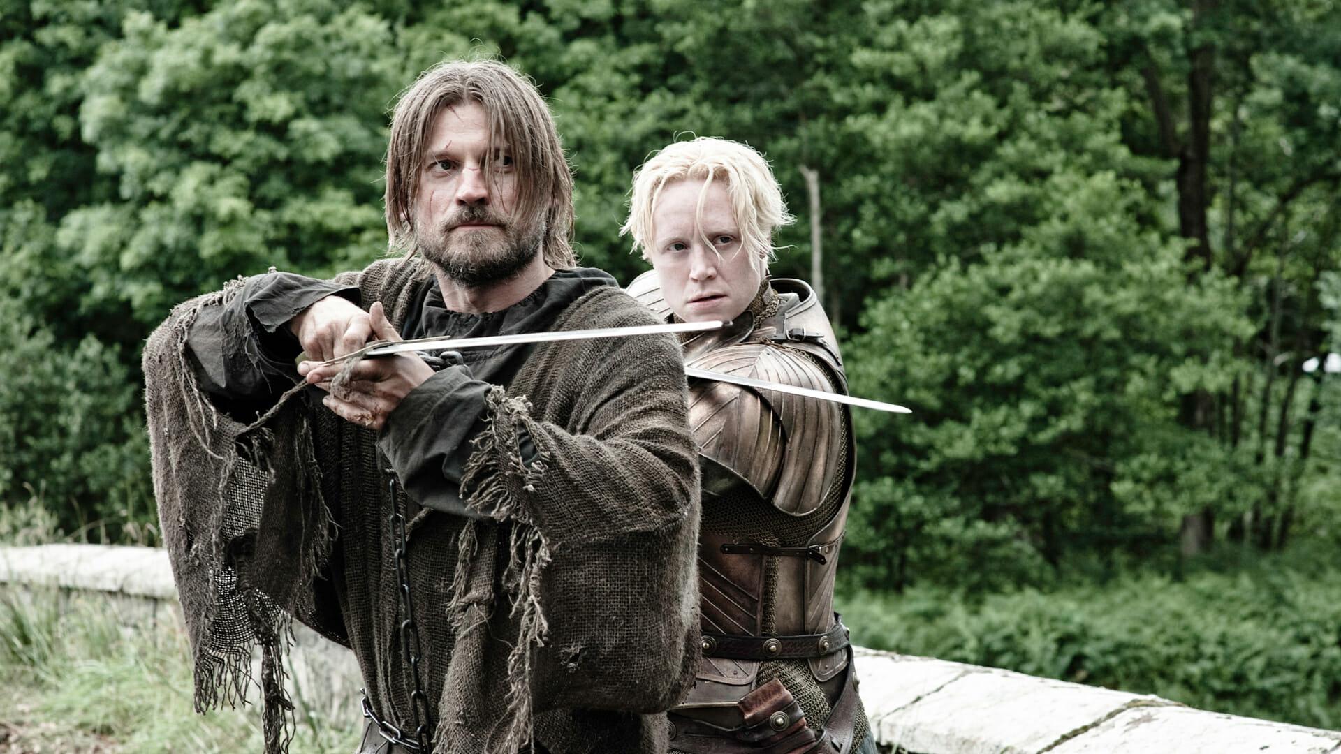 Nikolaj Coster-Waldau (Jaime Lannister) et Gwendoline Christie (Brienne De Torth)